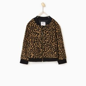 Zara girls faux fur bomber jacket.